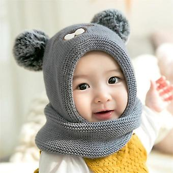 Baby Knit Short Plush Inlayer Hooded Scarf Kid Hat, Child Winter Warm