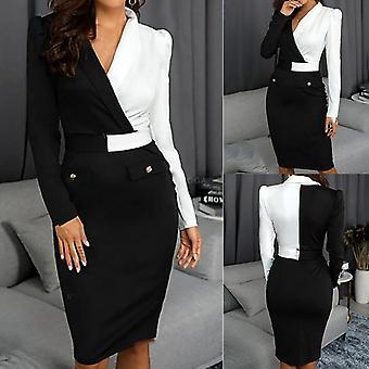 Suit Women Blazer Dress, Long Sleeve, Buttons V-neck, Patchwork, Bodycon Work
