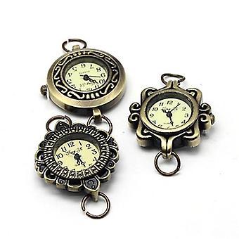 Slitina face head hodinky komponenty, smíšený styl v náhodných, starožitný bronz