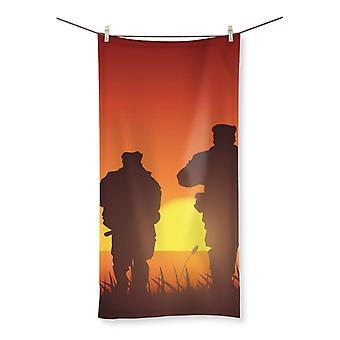 Navy seal training silhouette beach towel