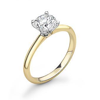 Ah! Sieraden 18K Two Tone White en Yellow Gold 4 Prong 0.16ct Natural Diamond Ring. 18ct gewicht 2g