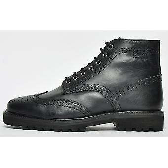 Frank Wright Pine Brogue Boot Leather Black