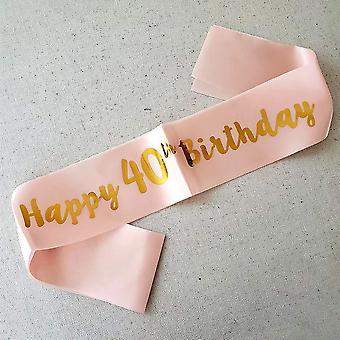 Trvancat 40th birthday sash birthday gifts birthday party accessories(40) 40