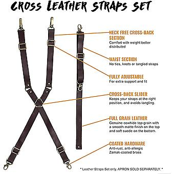 Under NY Sky Full Grain Leather Strap Set for Aprons - Fully Adjustable Cross-Back Style