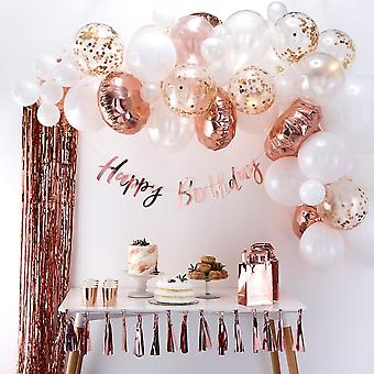 Rose Gold & White Balloon Arch Kit - Party Wedding Decoration