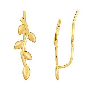 14K gult guld oliv träd gren klättrare örhängen