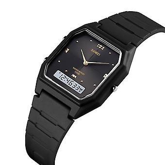 SKMEI 1604 Casual Style PU Band Dual Display Watch 5ATM Waterproof Stopwatch Wo