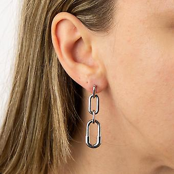 Fiorelli Silver Womens 925 Sterling Silver Rhodium Plaqué Graduating Size Oval Links Hook Boucles d'oreilles