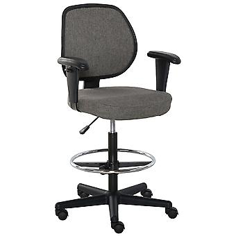 Vinsetto Drafting Chair Tall Office Fabric Standing Desk Chair with Adjustable Footrest Ring, Arm, Swivel Wheels, Grey