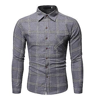 menn 's lapel plaid langermet skjorte