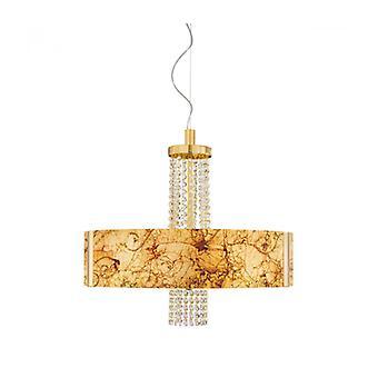 Lámpara Colgante Moderna Emozione Oro De 24 Quilates 6 Bombillas, Pantalla De Oro Medici