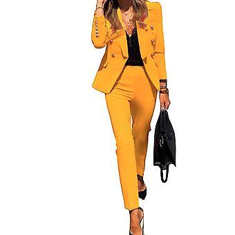 Nová móda Jednobarevné knoflíkové kalhoty s dlouhým rukávem Business Suits