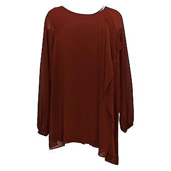 Susan Graver Women's Top Plus Liquid Tunic Chiffon Overlay Red A379642