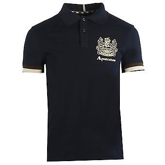 Aquascutum Aldis Crest Logo Granatowa koszulka polo