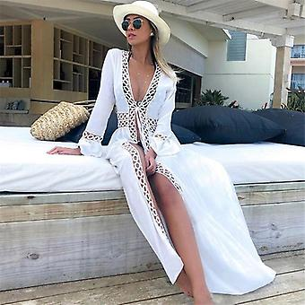 Bikini Cover Up Beach Long Maxi Dress Women Beach Cover Up Tuniek Pareo White V Neck Dress Robe Badmode Badpak Beachwear