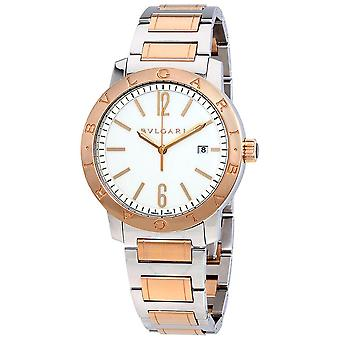 Bvlgari Bvlgari Off White Dial Stainless Steel & 18kt Pink Gold Automatic Men's Watch 102053