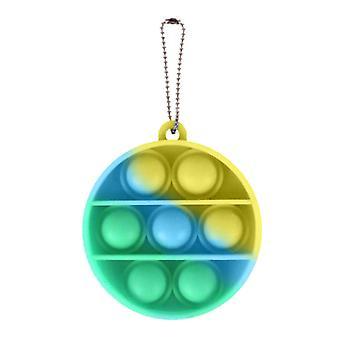 الاشياء المعتمدة® البوب سلسلة المفاتيح - تململ مكافحة الإجهاد لعبة لعبة سيليكون جولة الأخضر والأزرق والأصفر