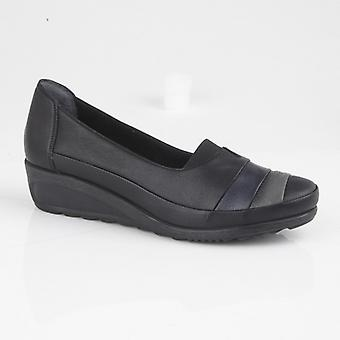 Mod Comfys Samira Ladies Multi Leather Casual Shoes Black