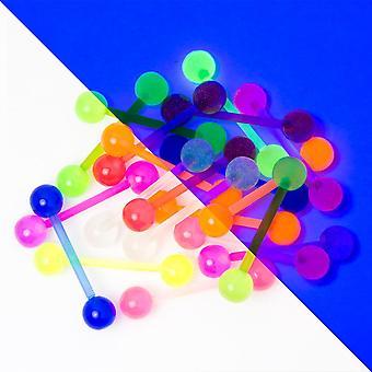 20 barras perforadoras de lengua bioflexa mixtas - 14ga brillan en la oscuridad - ejes flexibles
