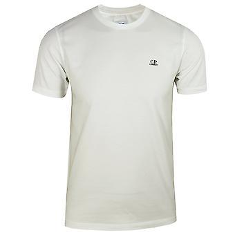 C.p. company men's white jersey 30/1 small logo t-shirt