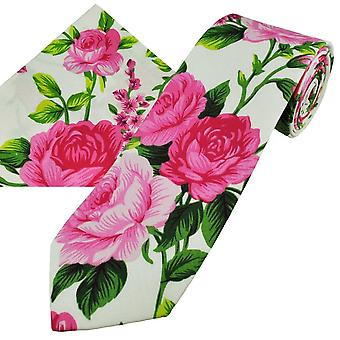 Ties Planet White, Pink & Green Roses Patterned Cotton Men's Tie & Pocket Square Handkerchief Set
