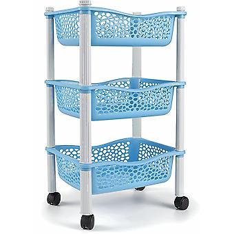 FengChun Küchenwagen mit Aufbewahrungskörben und Rädern Obstkorb - Heavy Duty Kunststoff - Blau