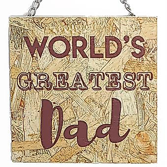 World's Greatest Dad - Hanging Wooden Plaque