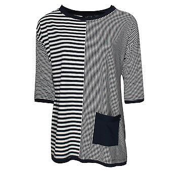 Latte Blue Stripe 3/4 Sleeve Top