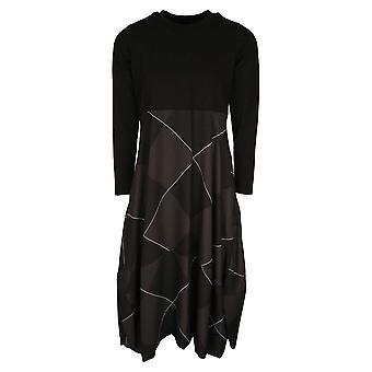 Latte Black Three Quarter Sleeve Dress With Full Balloon Hem Check Design Skirt