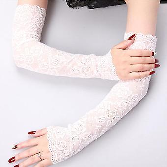 Sexy verano femenino medio dedo guantes de protección solar