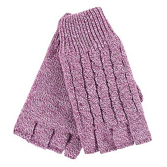 Ladies cable knit winter thermal fingerless gloves