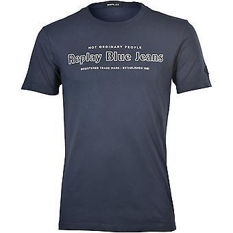 "Replay ""Not Ordinary People"" Logo T-Shirt, Aviator Blue"