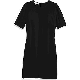 Brand - Lark & Ro Women's Fluid Stretch Crepe Puff Half Sleeve Crew Neck Dress