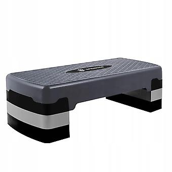 Aerobic step 3-staps - grijs zwart - Antislip - Fitness stepper