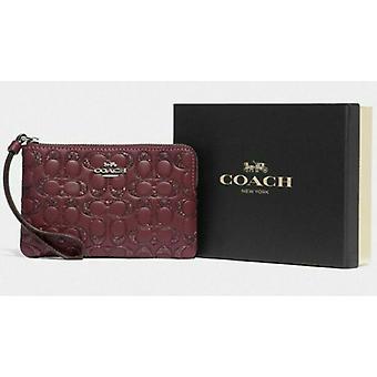 Coach F80214 CornerZip Wristlet Vin Cuir w / Coffret cadeau à paillettes