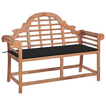 vidaXL banco de jardín con almohadilla negra teca de madera maciza de 120 cm