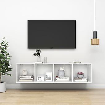 vidaXL ARMOIRE TV- blanc brillant 37x37x142,5 cm panneau de particules
