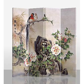 Grzywny Asianliving Oriental Room Divider 4 Panel Ptaki i Mudan Piwonie L160xH180 cm