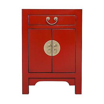 Boa asiática revivendo mesa de cabeceira chinesa vermelha - Lucky Red W42xD35xH60CM