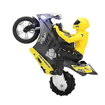 Mini Motorcycle Toy Kids Electric Remote Control RC 2.4Ghz Racing Motorbike for Children(Yellow)