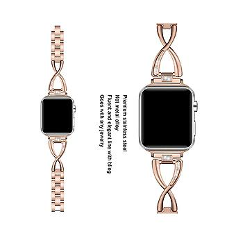 Μόδα X σχήμα μέταλλο ανοξείδωτο χάλυβα ζώνη γυαλιστερό χάλυβα ζώνη Iwatch λουρί για apple Watch 5 4 3 2