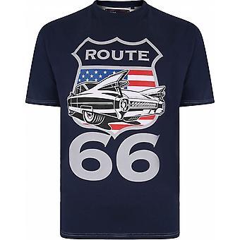 KAM Kam Mens Big Size Route 66 Print Cotton Crew Neck T Shirt