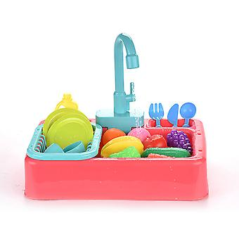 لعب المطبخ بالوعة اللعب غسالة الصحون الكهربائية لعب لعبة مع المياه الجارية التظاهر لعب لعبة للبنين والبنات