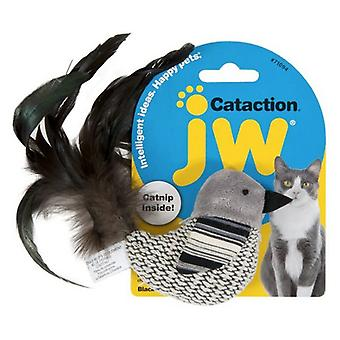 JW Pet Cataction Catnip Black And White Bird Cat Toy With Feather Tail  - 1 count