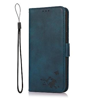 Case For Oppo Reno 4z 5g Wallet Flip Pu Leather Cover Card Holder Coque Etui - Blue Cat
