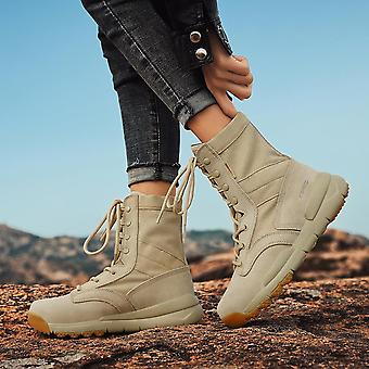 Women's Fashion Waterproof Hiking Shoes Motorcycle Boots Outdoor Casual Climbing Trekking Shoes Wear Resistant Ttactical Boots