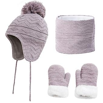 Kindermütze Schal und Handschuhe Set - 3pcs Winter Pom Pom Mütze Hüte