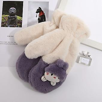 Winter New Cute Hanging Neck Hand Warm Thick Warm Plush Cartoon Character Mittens Student Girl