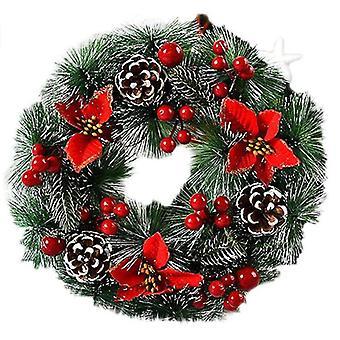 Weihnachten Künstliche Haustür Wand hängender Rattan Kranz Urlaub
