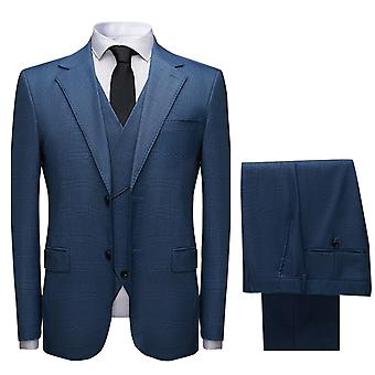 Mile Mens Suits 3 Piece Slim Fit Checked Suit Single Breasted Vintage Suit Tuxedo Formal Business Jacket Waistcoat Trouser
